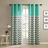 2 Piece Aqua Green Chevron Window Curtain Set, 63 Inch Zig Zag Panels Pair Grey Trim Gray Kids Themed Teen V Shaped Pattern, Polyester Top Solid Colour Vibrant Modern Zigzag