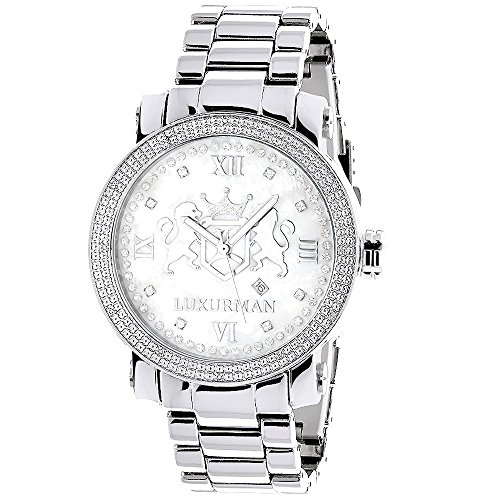 Large Mens Diamond Watch White MOP LUXURMAN Phantom with Stainless Steel Band 0.12ct ()