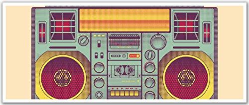 JP London PAN5056 uStrip Ghetto Blaster Retro 80s Cassette High Resolution Peel Stick Removable Wallpaper Sticker Mural, 48