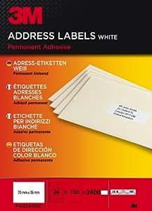 3M - 3M Etiquetas Blancas Para Direcciones   24 Etiquetas Por Hoja, 100 Hojas Por Caja. Total 2.400 Etiquetas 70X36Mm Cantos Rectos. Multiusos