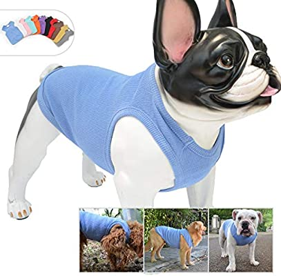 b49a83bd0b10 ... Bulldog Large Medium Small Dogs 100% Cotton. Lovelonglong 2019 Summer  Pet Clothing, Dog Clothes Blank T-Shirts Ribbed Tanks Top Thread