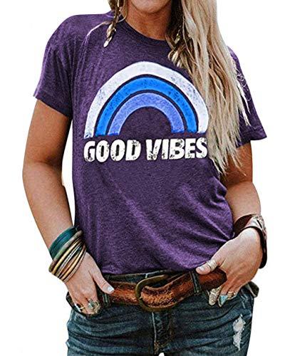 YASAKO Plus Size Women Tops Short Sleeve T Shirts Casual Tee Shirts Cute Graphic Tunic, Purple, 5X-Large