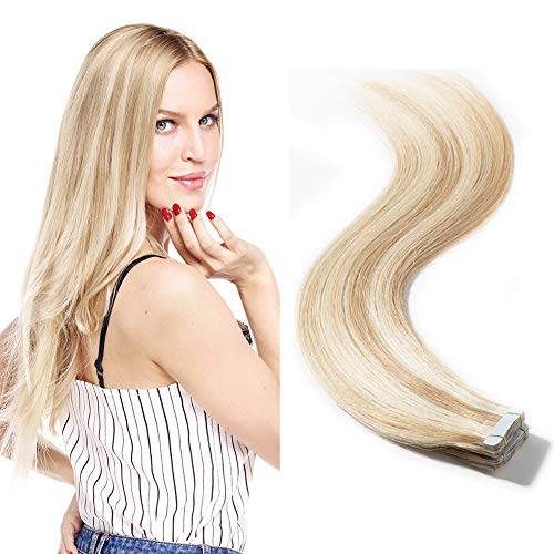 Rooted Tape in Hair Extensions 100g Balayage Color 100% Remy Human Hair 40 Pieces Highlight Double Side Tape Seamless Skin Weft Long Straight (20 inch 40pcs,#18/613 Light Ash Brown mix Bleach Blonde) ()