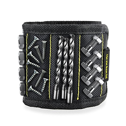 Monokuchi Magnetic Wristband,Adjustable Strong Magnets Wristband for Holding Tools/Screws/Nails/Drill Bits, Tool Holder Gift for Men/DIY Handyman/Father/Dad/Husband/Boyfriend/Him/Women