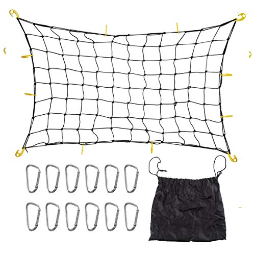 DaTOOL Heavy Duty Latex Cargo Net 3'x4' to 6'x8' with 12 Tangle-free D Clip Carabiners and 12 Nylon Hooks,Small 4
