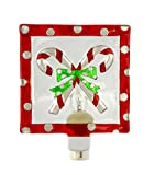 Peppermint Candy Canes 5 x 6 Inch Glass Wall Plug-In Christmas Night Light