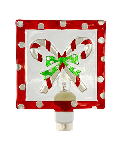 Peppermint Candy Canes 5 x 6 Inch Glass Wall Plug-In Christmas Night - Gift Christmas Cane