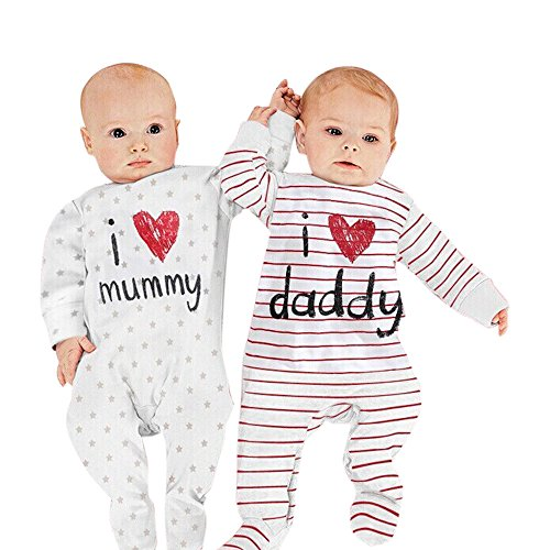 Nonna Bambini Love Daddy Baby Girl Striped Bodysuit Red (6M) by Nonna Bambini (Image #2)