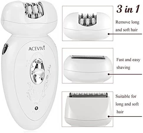 ACEVIVI 3 in 1 Electric Epilator Shaver with 2 Level Speed, Assembled