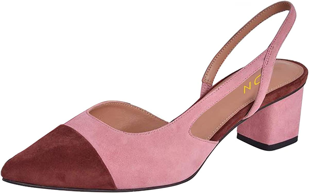 YDN Be super welcome Women Chunky Mid Heel Slingback Slide Toe Pumps Sand Baltimore Mall Pointed