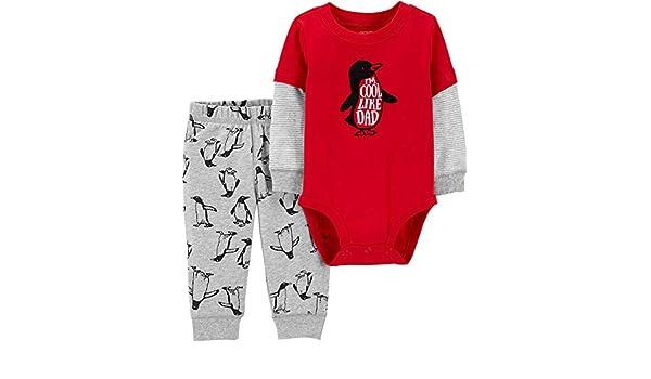bf60edb425d Amazon.com  Carter s Baby Boys I m Cool Like Dad Penguin Bodysuit Set   Clothing