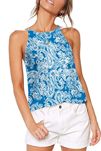 Ladies Halter Tops for Women Sexy Casual Basic Cami Juniors Summer Clothes Boho Paisley Blue L ()