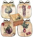 Manual Set of 4 Decorative Mini-Plates, Vintage Veggies