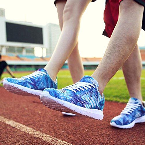 Kinghard Unisex Frauen Männer Casual Turnschuhe Mesh Sportschuhe Breathable Laufschuhe Freizeit Camouflage Knöchelschuhe Hawaii Stil Turnschuhe Paar Dynamische Turnschuhe Paar Yoga Turnschuhe Blau