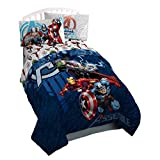 LO 1 Piece Blue Kids Marvel Avengers Themed Comforter Full Sized, Fun Action Packed Super Hero Power Bedding, Playful Characters The Hulk Green Captain America Ironman Red Theme Pattern, Polyester