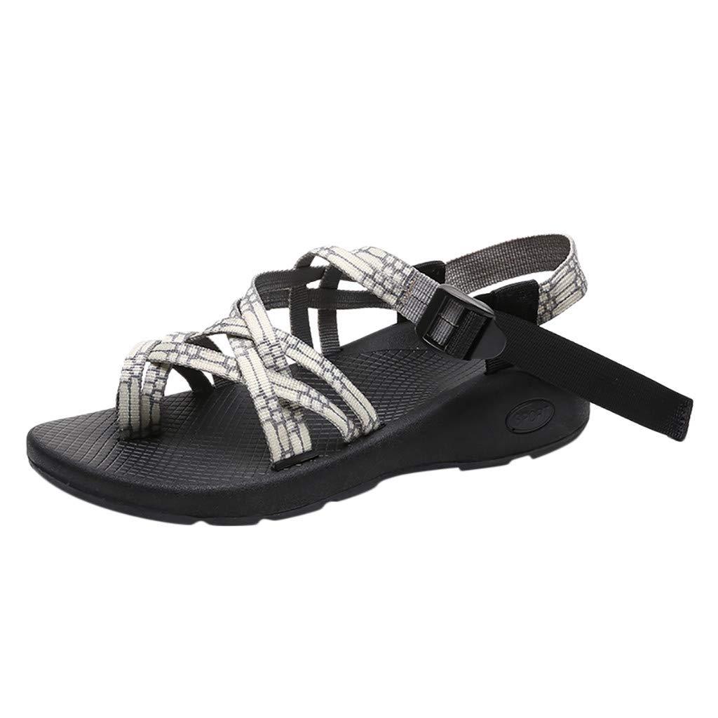 YEZIJIN Women's Outdoor Sandals Flat Matching Color Beach Shoes Hiking Hiking Sandals Platform/Flats/High Heel Sandals Beige