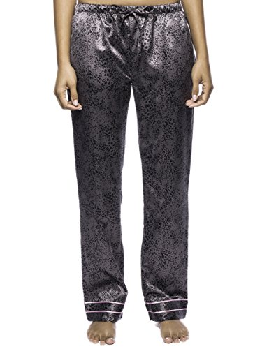 Noble Mount Women's Classic Satin Lounge Pants - Leopard Black/Grey - X-Large (Lounge Leopard Pants)