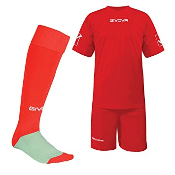 Givova football training kit Red S (34  -36  ) matching socks Shirt ... 0b6f08323