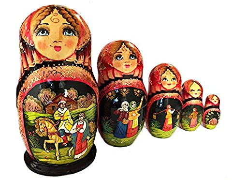 Russian Fairy Tale Matryoshka Babushka Nesting Stacking Wooden Doll Hand Painted 5 Pieces 6 1/2 (Kitchen Fairy Nativity)