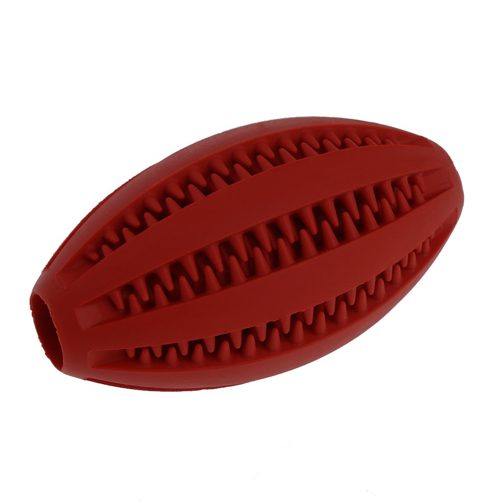 NNDA CO Pet Dog Chew Toy Food Dispenser Rugby Football Bite-Resistant Clean Teeth Natural Rubber,12.5cm,1pc(Red)