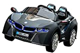 BMW i8 Style Premium 12-Volt MP3 Electric Battery Powered Ride On Kids Boys Girls Toy Car RC Parental Remote LED Lights Music Real Paint - Dull Black