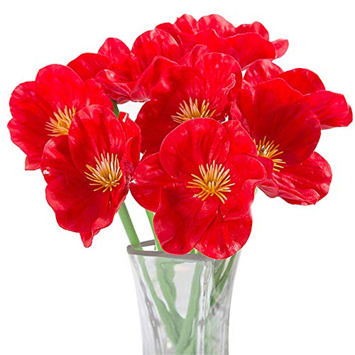 Artificial Flowers, Meiwo 10 Pcs Fake Poppies Flowers for Wedding Bouquets / Home Decor / Party / Graves Arrangement(Red)