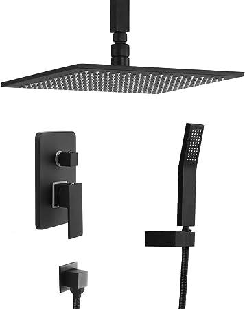 Kunmai de salle de bain de luxe Noir Plafond Douche de pluie ...