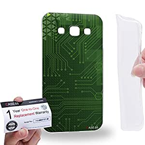 Case88 [Samsung Galaxy E5] Gel TPU Carcasa/Funda & Tarjeta de garantía - Art Fashion Green Cyber Circuit Board Art1416