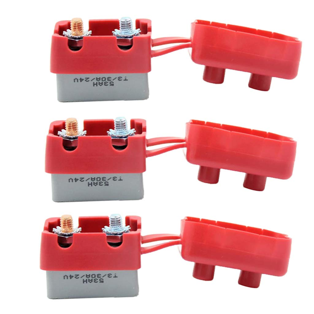 perfk 2 Pieces Motorcycle Circuit Breaker Circuit Breaker 30A Fuseholder 12V-24V For Boats Charger Cars Red