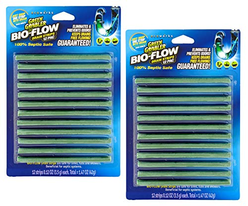 Green Gobbler BIO-Flow Drain Strips - 24 Strips | Drain Cleaner & Deodorizer Drain Sticks (Best Drain Opener For Kitchen Sink)