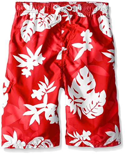 Kanu Surf Big Boys' Voyage Floral Swim Trunk, Red, Medium (10/12) ()