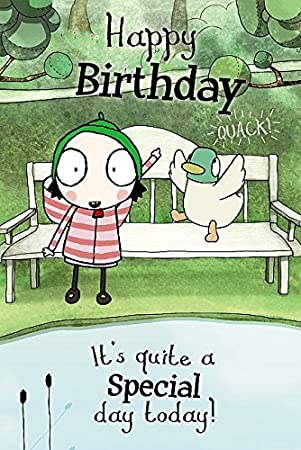 Sarah & Duck Colour-Me-In Greetings Card - Happy Birthday - On Bench ...