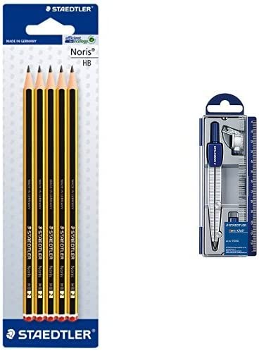 Staedtler - Pack lapiz Noris HB (5 unidades) + Set de dibujo: estuche, compás escolar, adaptador y tubo de minas: Amazon.es: Oficina y papelería