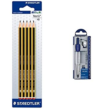Staedtler - Pack lapiz Noris HB (5 unidades) + Set de dibujo: estuche, compás escolar, adaptador y tubo de minas