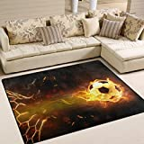 Naanle Sport Area Rug 4'x5', Fire Soccer Ball Polyester Area Rug Mat Living Dining Dorm Room Bedroom Home Decorative