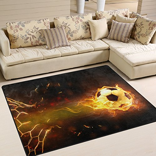 Naanle Sport Area Rug 4'x5', Fire Soccer Ball Polyester Area Rug Mat Living Dining Dorm Room Bedroom Home Decorative by Naanle