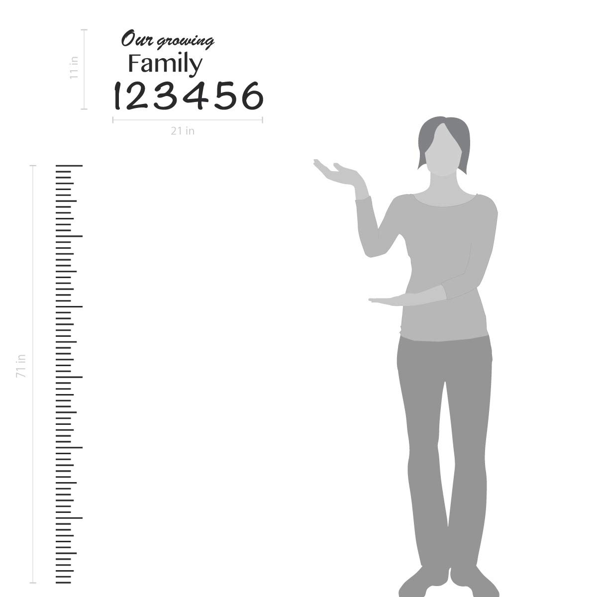 Giant Vinyl Growth Chart Kit Kids DIY Height Wall Ruler Large Measuring Tape Sticker Number Decal Sticker Azure Blue, 73x23 inches