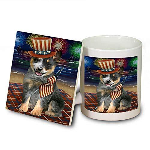 4th of July Independence Day Firework Blue Heeler Dog Mug and Coaster Set MUC52407 (Dishwasher Safe Independence Coasters)