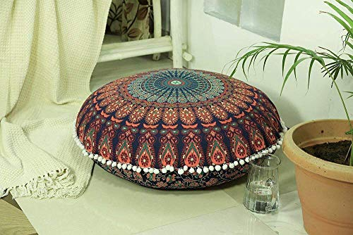Popular Handicrafts Large Hippie Mandala Floor Pillow Cover - Cushion Cover - Pouf Cover Round Bohemian Yoga Decor Floor Cushion Case- 32 Multi Color