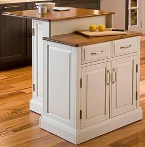 Home Styles 5010 94 Woodbridge 2 Tier Kitchen Island White Finish Chairs