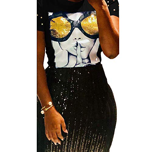 PESION Womens Short Sleeve T-Shirt Sequined Tops O-Neck Funny Graphic Tees ()