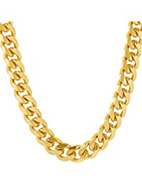 Cuban Link Chain 9MM, Round, 24K Gold with Inlaid Bronze,...