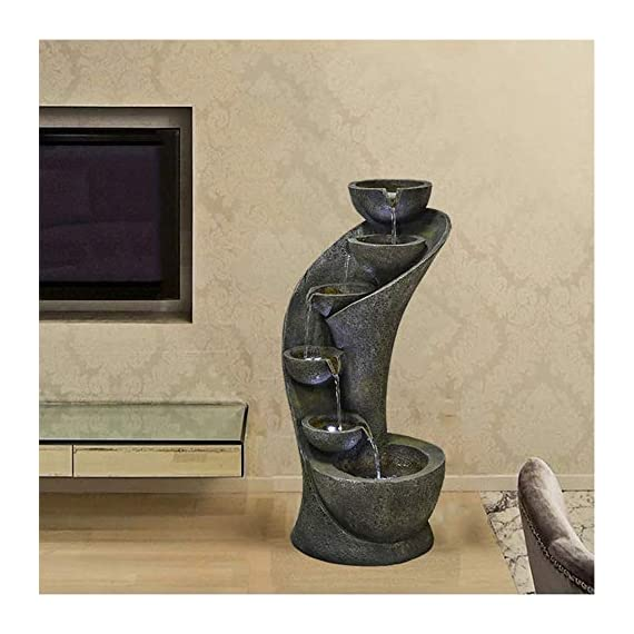 chillscreamni Outdoor Garden Fountain - 23.6in Outside Fountains and Waterfalls with 6 Bowls Curved Design for Indoor&Oudoor Decor | Portable Home Fountain with LED Lights for Garden, Patio, Backyard - Material: Made from resin with fiberglass, the weatherproof water fountain is very durable and ightweigh. It can be placed indoor or outdoor easily. Design: Special curved shape with 6 bowls, decor with LED lights in each bowl, vintage yet modern, the indoor-outdoor fountain is ideal for decor in garden, patio, backyard, pool, entryway, stairs-side,etc Sounds: The relaxation water fountain is a natural noise reduction product. The sound of the water flows will help to reduce the unwanted&unpleasant noise, while gives the soothing effect and makes you feel calm. - patio, outdoor-decor, fountains - 51caF4d%2BKAL. SS570  -