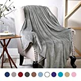 Bedsure Flannel Fleece Luxury Blanket Grey Throw Lightweight Cozy Plush Microfiber Solid Blanket