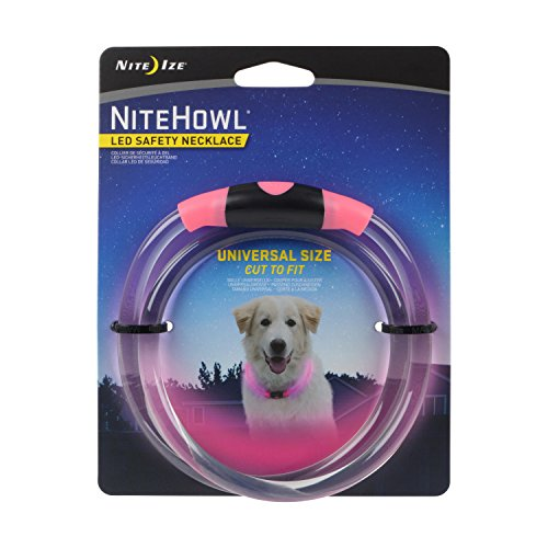 Nite Howl LED Safety Necklace, Universal, Reusable Visibility Necklace for Pets, Pink