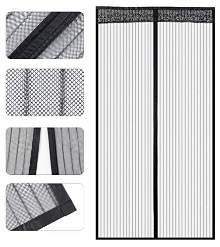 Store2508® Polyester Mesh Mosquito Screen Curtain with Magnets for Main Doors/Balcony Doors/Kitchen Doors (90 * 215 Cms, Black)