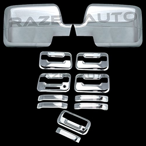 Razer Auto Triple Chrome Plated Mirror Cover (Will Not Fit XL, Stx Or 04 Heritage), 4 Door Handle Cover With Keypad And without Passenger Keyhole, Tailgate Handle Cover for 04-08 Ford F150