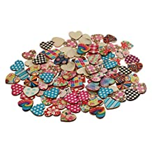 MagiDeal 100 Pieces Assorted Printed Heart Shape Wood Slice Pieces Wedding Table Decoration Embellishments 21mm