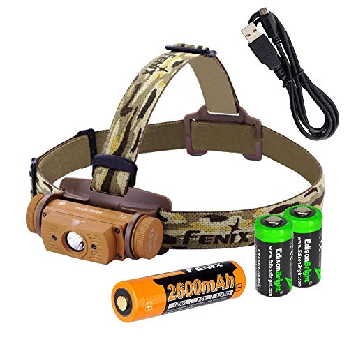 n USB rechargeable CREE LED Headlamp (Desert Yellow), Fenix 18650 rechargeable Li-ion battery with 2 X EdisonBright CR123A back-up batteries bundle (Led Yellow Headlamp)