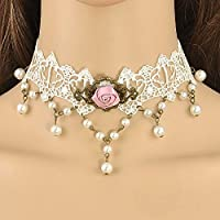 Vintage Victorian White Lace Faux Pearl Beads Choker Collar Necklace Pendant